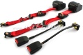 Safety belt for front seat, automatic, in pairs, red