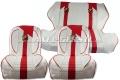 Sitzbezüge rot/weiß Abarth, Kunstleder kpl. vo. & hi.