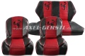 Sitzbezüge rot/schwarz Skorpion, Kunstleder kpl. vo. & hi.